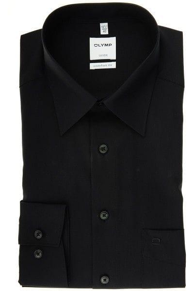 Olymp Luxor Comfort Fit Hemd schwarz, Einfarbig