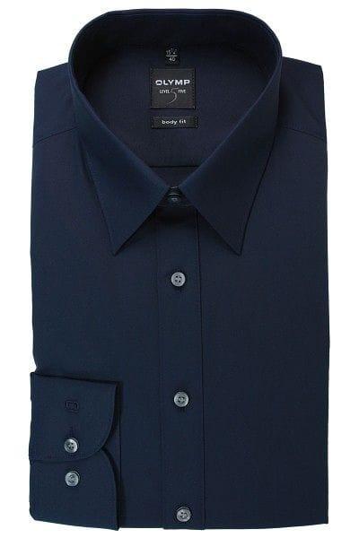 Olymp Level Five Body Fit Hemd dunkelblau, Einfarbig