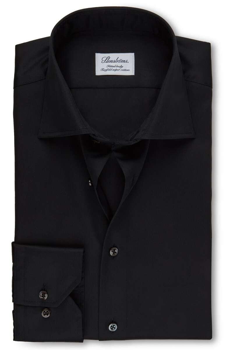 Stenströms Fitted Body Hemd schwarz, Einfarbig 39 - M