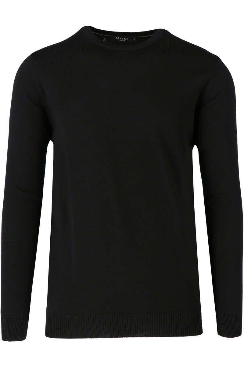 Maerz Modern Fit Pullover Rundhals schwarz, einfarbig 50