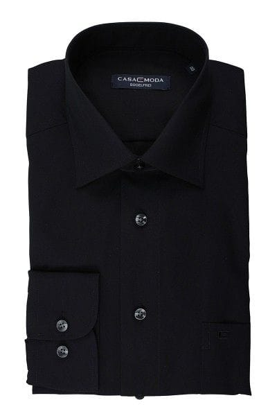 Casa Moda Hemd - Regular Fit - schwarz, Einfarbig