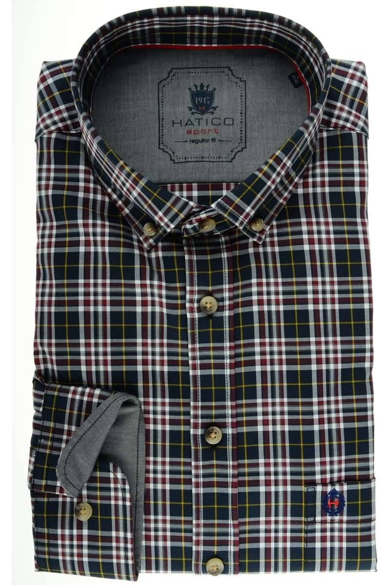 HATICO Regular Fit Hemd Langarm Button Down Kragen weiß