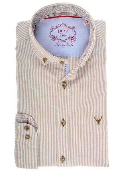 Pure Slim Fit Trachtenhemd oliv/weiss, Gestreift