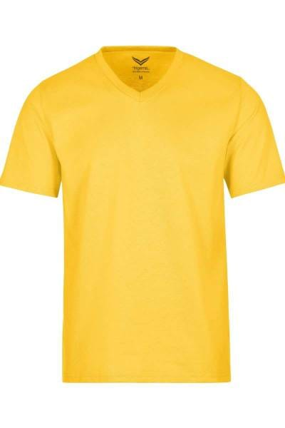 TRIGEMA T-Shirt V-Ausschnitt gelb, einfarbig
