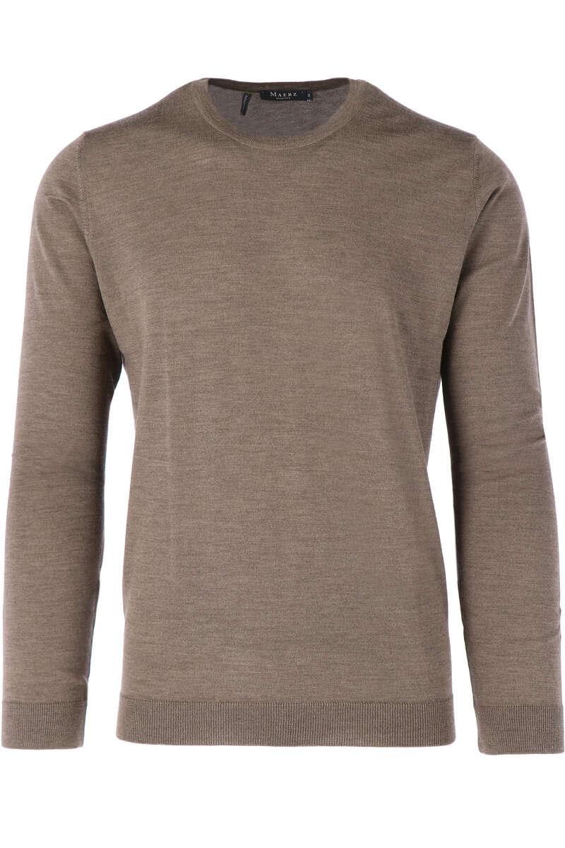 Maerz Modern Fit Pullover Rundhals braun, einfarbig 50