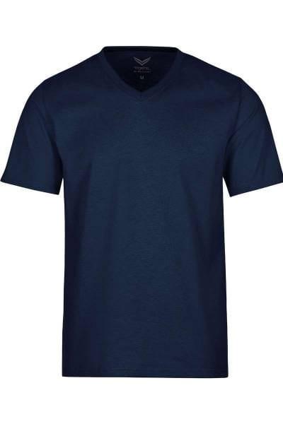 TRIGEMA T-Shirt V-Ausschnitt navy, einfarbig