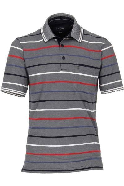 Casa Moda Poloshirt grau/rot, Gestreift