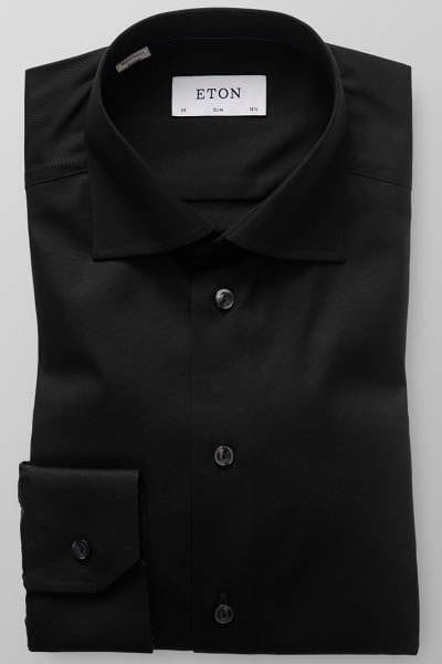 Eton Hemd - Slim Fit - schwarz, Einfarbig