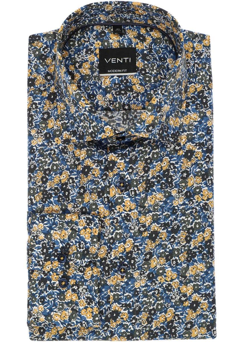 Venti Modern Fit Hemd blau/gelb, Gemustert 40 - M