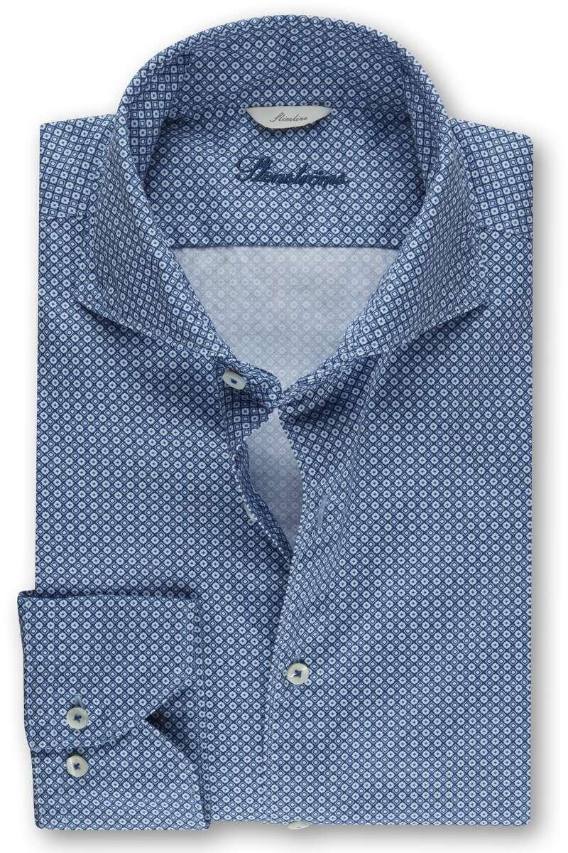 Stenströms Slimline Hemd blau, Gemustert M