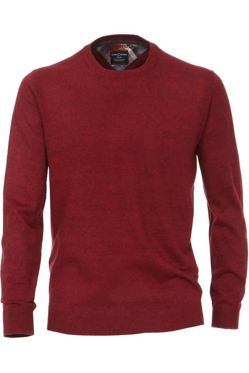 Casa Moda Strickpullover Rundhals rot, einfarbig