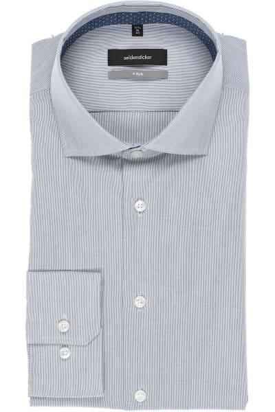 Seidensticker X-Slim Hemd blau/weiss, Feinstreifen