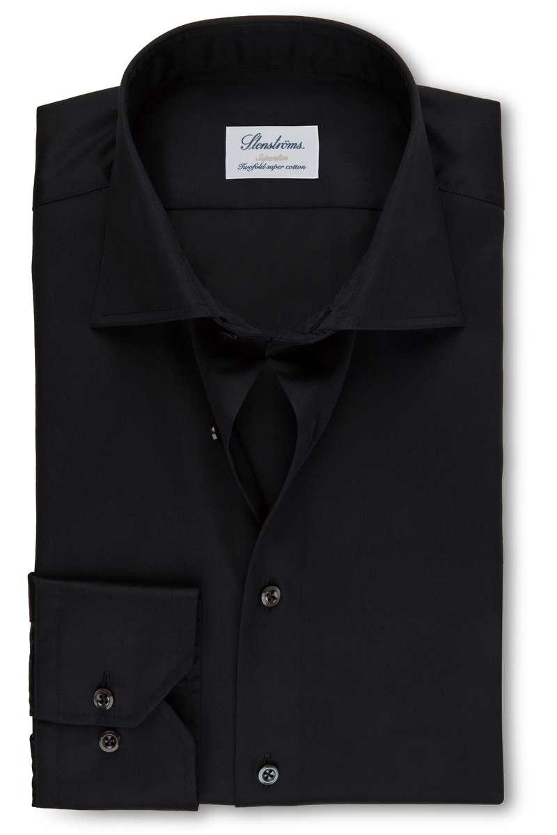 Stenströms Super Slim Hemd schwarz, Einfarbig 40 - M