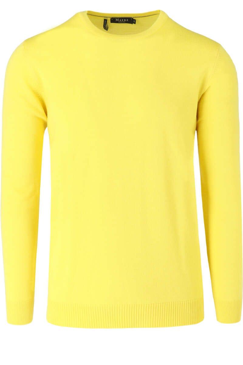 MAERZ Modern Fit Pullover Rundhals gelb, einfarbig 48