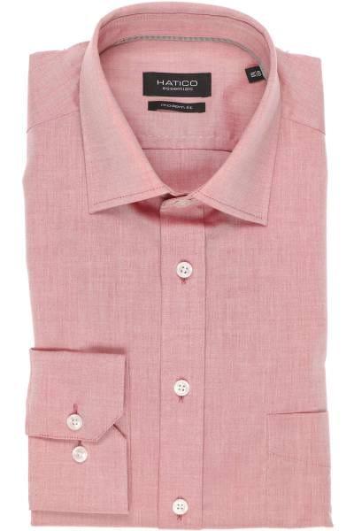 Hatico Modern Fit Hemd rot, Einfarbig