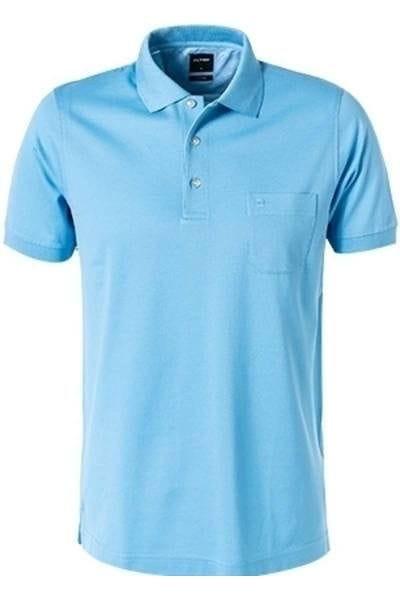 Olymp Modern Fit Poloshirt sky, Einfarbig