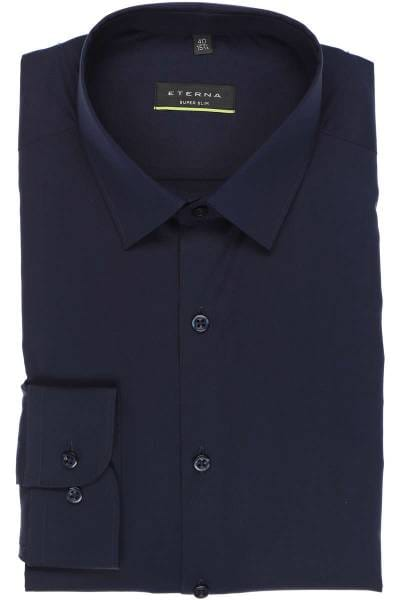Eterna Super Slim Hemd blau, Einfarbig