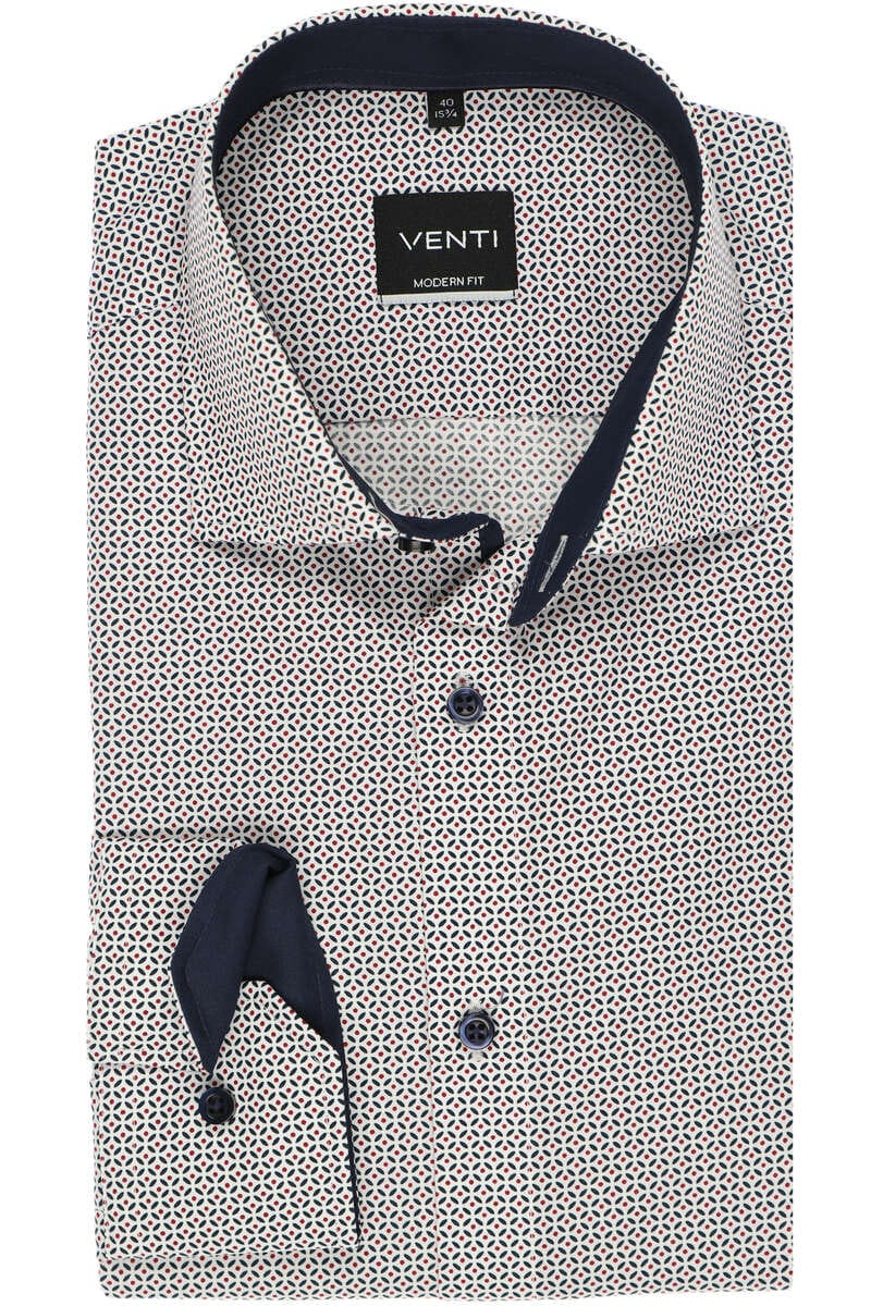 Venti Modern Fit Hemd blau, Gemustert 40 - M
