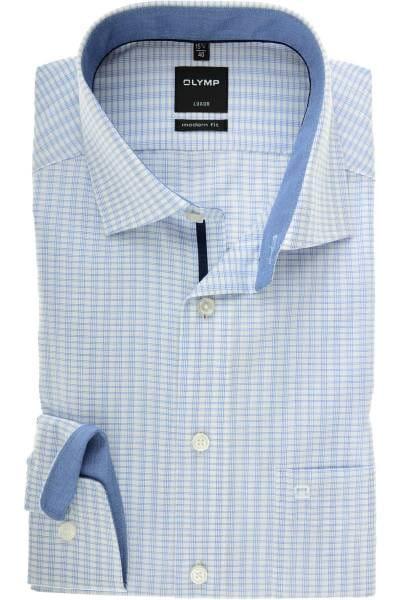 OLYMP Luxor Modern Fit Hemd royal/weiss, Kariert und gestreift