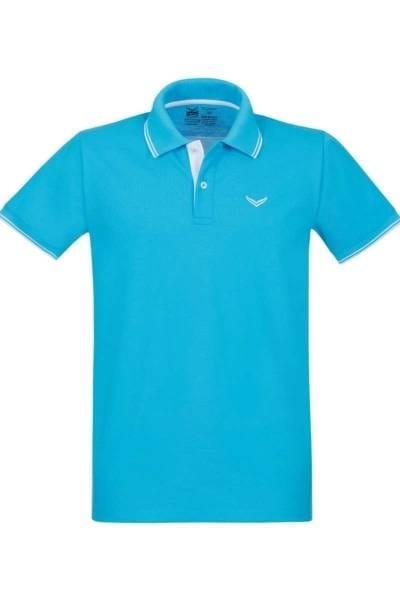 TRIGEMA Slim Fit Poloshirt azur, Einfarbig