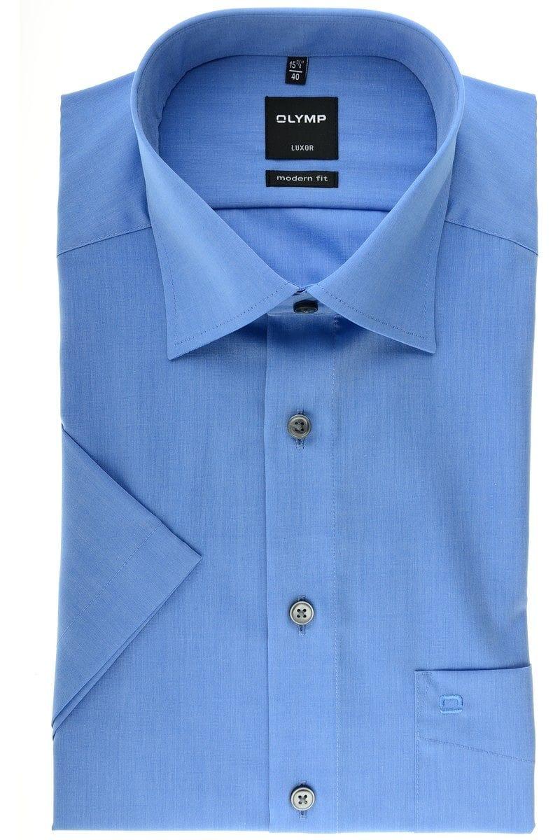 olymp slim line hemd in kurzarm 12cm blau einfarbig. Black Bedroom Furniture Sets. Home Design Ideas