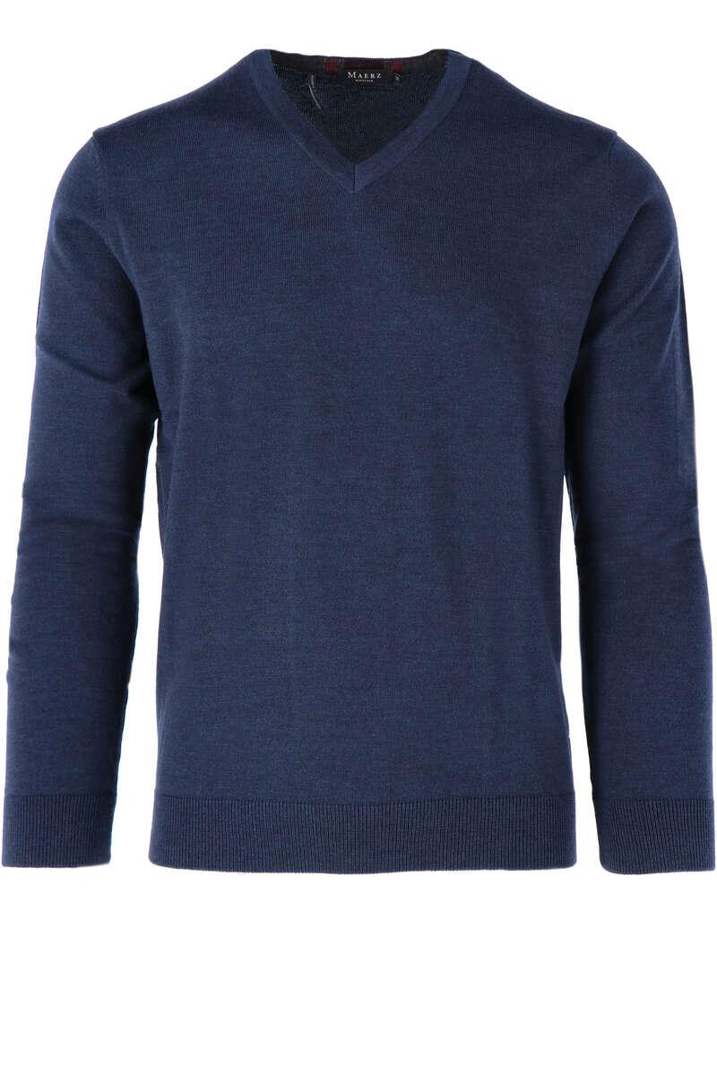 Maerz Modern Fit Pullover V-Ausschnitt dunkelblau, einfarbig 50