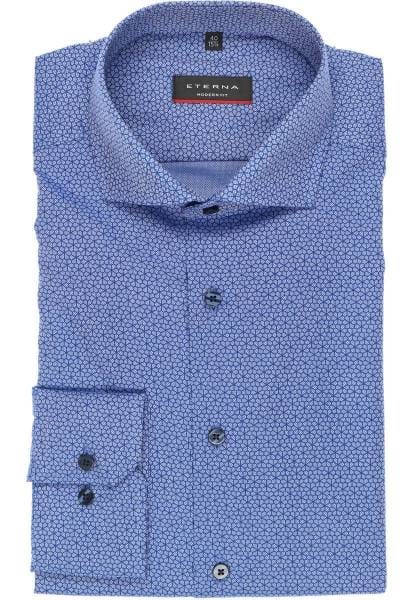 ETERNA Modern Fit Hemd jeansblau, Gemustert