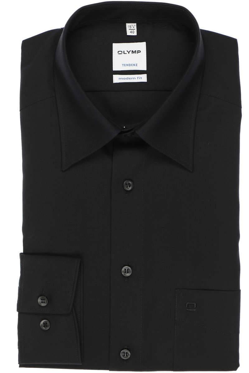 OLYMP Tendenz Modern Fit Hemd schwarz, Einfarbig