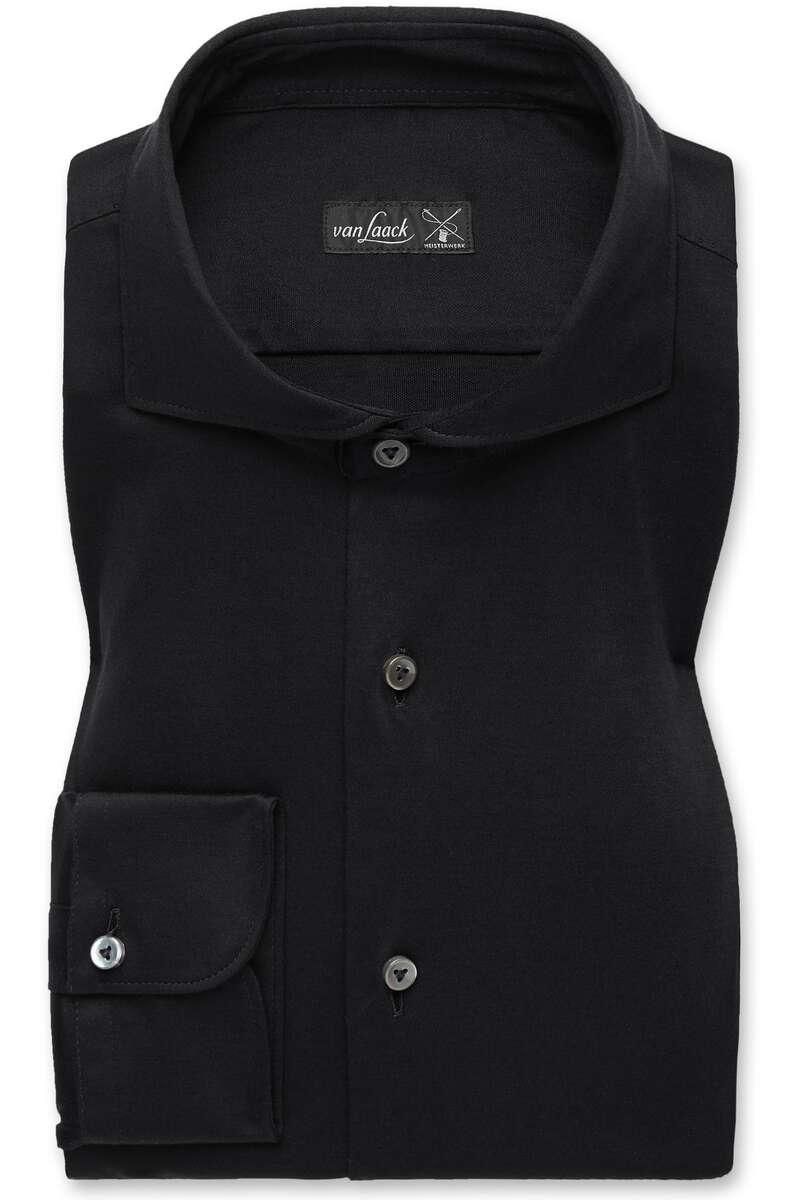 van Laack Slim Fit Jerseyhemd schwarz, Einfarbig 3XL