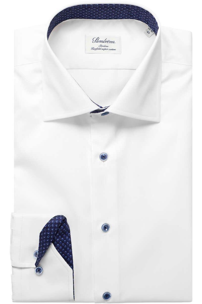Stenströms Slimline Hemd weiss, Einfarbig (extra langer Arm) 40 - M