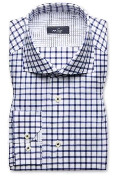 van Laack Tailor Fit Hemd blau/weiss, Kariert