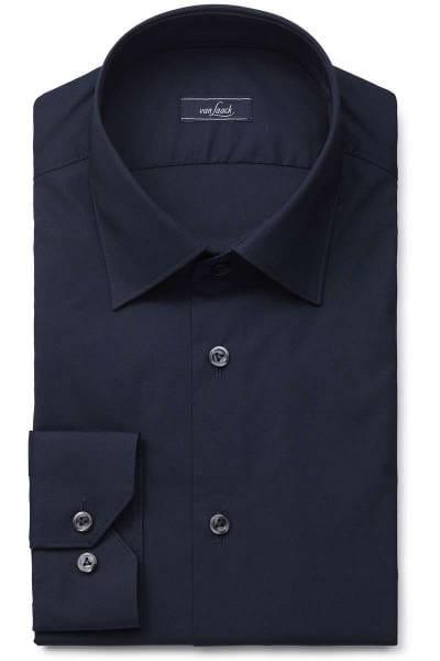 van Laack Slim Fit Hemd dunkelblau, Einfarbig
