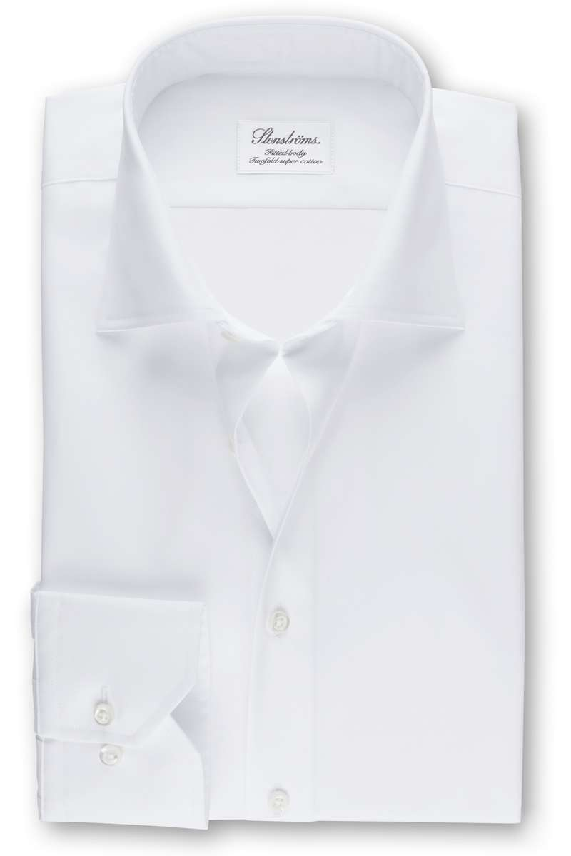 Stenströms Fitted Body Hemd weiss, Einfarbig (extra langer Arm) 40 - M